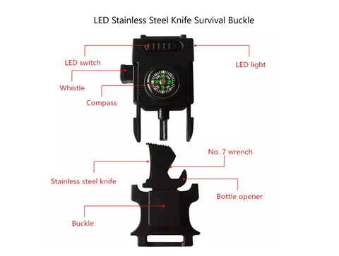 LED Stainless Steel Knife Survival Buckle