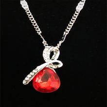 "Load image into Gallery viewer, MADARI FASHIONS - Teardrop ""Eternal Love"" Austrian Crystal Pendant Necklace"