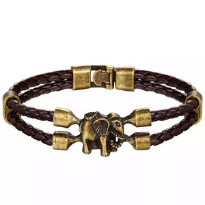 MADARI FASHIONS - Double Braided Faux Leather Elephant Bracelet