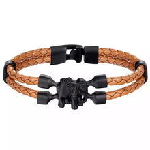 Load image into Gallery viewer, Double Braided Faux Leather Elephant Bracelet
