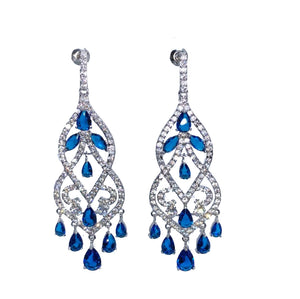Sterling Silver Chandelier Lab Created Sapphire Earrings