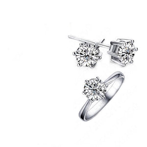 MADARI FASHIONS - Sterling Silver Solitaire Austrian Crystals Set