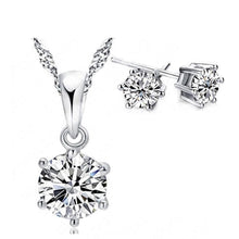 Load image into Gallery viewer, MADARI FASHIONS - Sterling Silver Solitaire Austrian Crystals Set