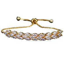 Load image into Gallery viewer, MADARI FASHIONS - 3 Row Marquise Heart Arrow Adjustable Bracelet