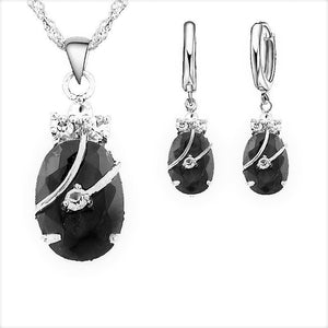MADARI FASHIONS - Sterling Silver Water Drop Austrian Crystals Set