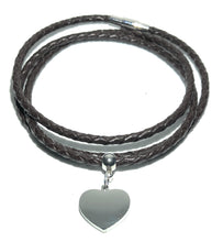 Load image into Gallery viewer, MADARI FASHIONS - Leather Braided Heart Charm Bracelet