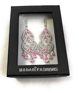 MADARI FASHIONS - Sterling Silver Chandelier Lab Created Sapphire Earrings