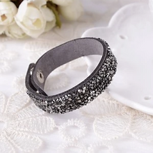 Load image into Gallery viewer, MADARI FASHIONS - Faux Leather Wrap Bracelet with Austrian Crystals