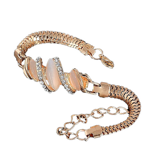 MADARI FASHIONS - Rose Gold Plated 3-Stone Marquise Bracelet
