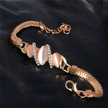 Load image into Gallery viewer, MADARI FASHIONS - Rose Gold Plated 3-Stone Marquise Bracelet