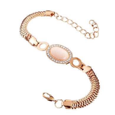 MADARI FASHIONS - Rose Gold Plated Oval Cat's Eye & Austrian Crystal Bracelet