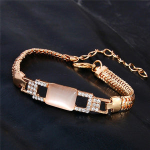 MADARI FASHIONS - Rose Gold Plated Emerald Cut Cat's Eye & Austrian Crystal Bracelet