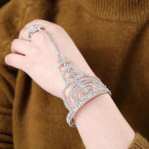 MADARI FASHIONS - Austrian Crystal Ring Chain Bracelet