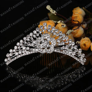 MADARI FASHIONS - Flower Peacock Silver Plated Tiara
