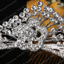 Load image into Gallery viewer, MADARI FASHIONS - Flower Peacock Silver Plated Tiara