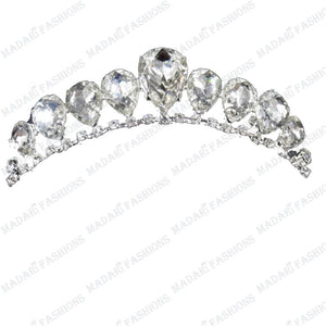 MADARI FASHIONS - Tear Drop Silver Plated Tiara