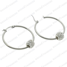 Load image into Gallery viewer, MADARI FASHIONS - Stainless Steel Swarovski Crystal Ball Earrings