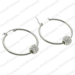MADARI FASHIONS - Stainless Steel Swarovski Crystal Ball Earrings