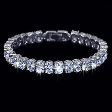 Load image into Gallery viewer, MADARI FASHIONS - Platinum Plated 16 Carat Simulated Diamond Tennis Bracelet