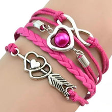 Load image into Gallery viewer, MADARI FASHIONS - Faux Leather Cupid's Arrow Love Eternity Bracelet