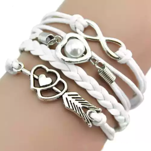 MADARI FASHIONS - Faux Leather Cupid's Arrow Love Eternity Bracelet