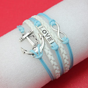 MADARI FASHIONS - Faux Leather Love Eternity Anchor Bracelet
