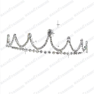 MADARI FASHIONS - Royal Diamond Silver Plated Tiara