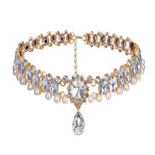 Load image into Gallery viewer, MADARI FASHIONS - Bohemian Water Drop Austrian Crystal with Pearl Choker Statement Necklace