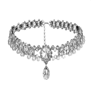 MADARI FASHIONS - Bohemian Water Drop Austrian Crystal with Pearl Choker Statement Necklace