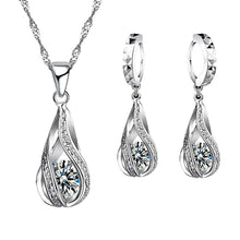 Load image into Gallery viewer, MADARI FASHIONS - Sterling Silver Twisted Water Drop Austrian Crystals Set