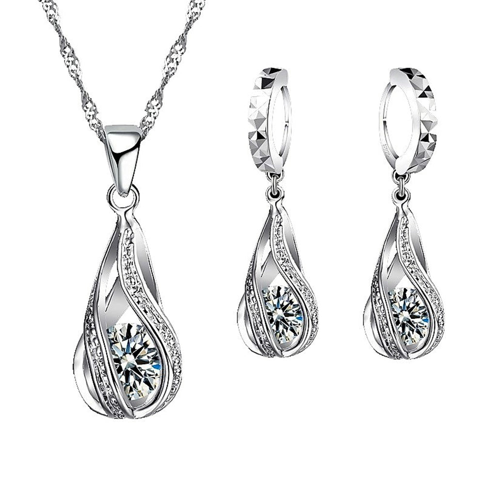 MADARI FASHIONS - Sterling Silver Twisted Water Drop Austrian Crystals Set