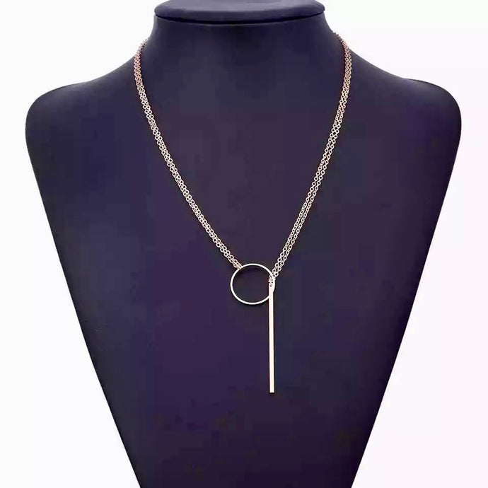 Long Bar Circle Necklace
