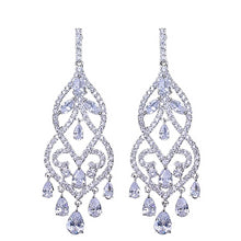 Load image into Gallery viewer, Sterling Silver Chandelier Lab Created Sapphire Earrings