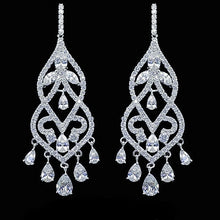 Load image into Gallery viewer, MADARI FASHIONS - Sterling Silver Chandelier Lab Created Sapphire Earrings