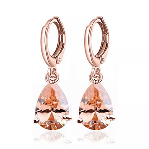 Rose Gold Drop Hoop Earrings