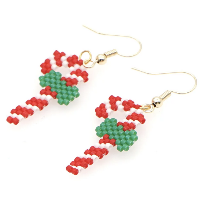MADARI FASHIONS - Stainless Steel Candy Cane Earrings