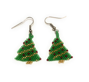 MADARI FASHIONS - Stainless Steel Christmas Tree Ornament Earrings