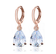 Load image into Gallery viewer, Rose Gold Drop Hoop Earrings