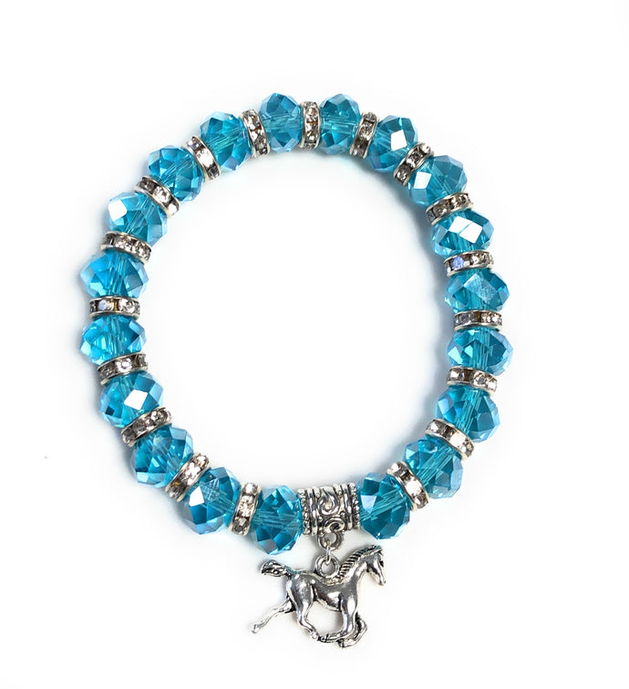 MADARI FASHIONS - Hand Beaded Blue Horse Bracelet