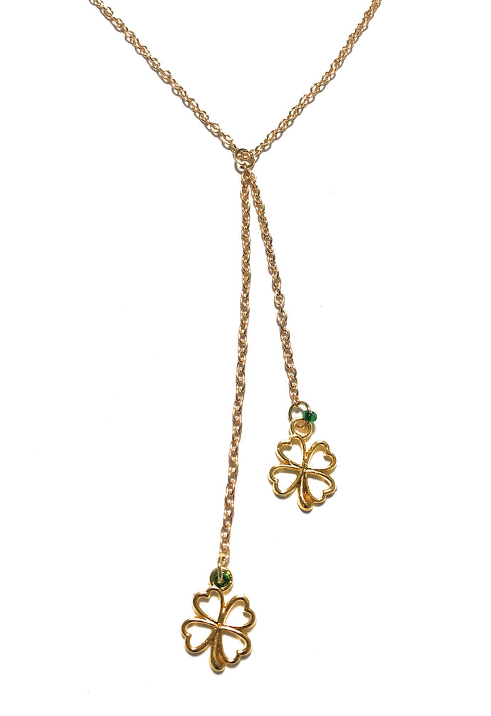 MADARI FASHIONS - Lucky 4-Leaf Clover Uneven Necklace