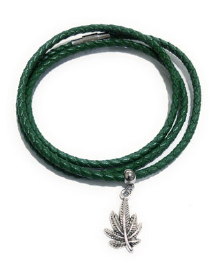 MADARI FASHIONS - Leather Braided Cannabis Charm Bracelet