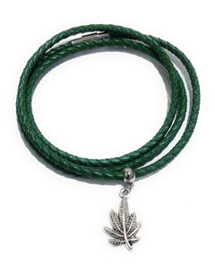 MADARI FASHIONS - Leather Braided Plant Charm Bracelet