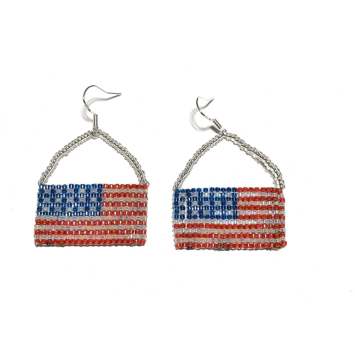 MADARI FASHIONS - 925 Sterling Silver USA Flag Basket Dangles