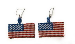 MADARI FASHIONS - 925 Sterling Silver USA Flag Dangles