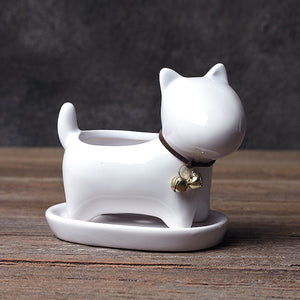 White Dog Succulent Planter