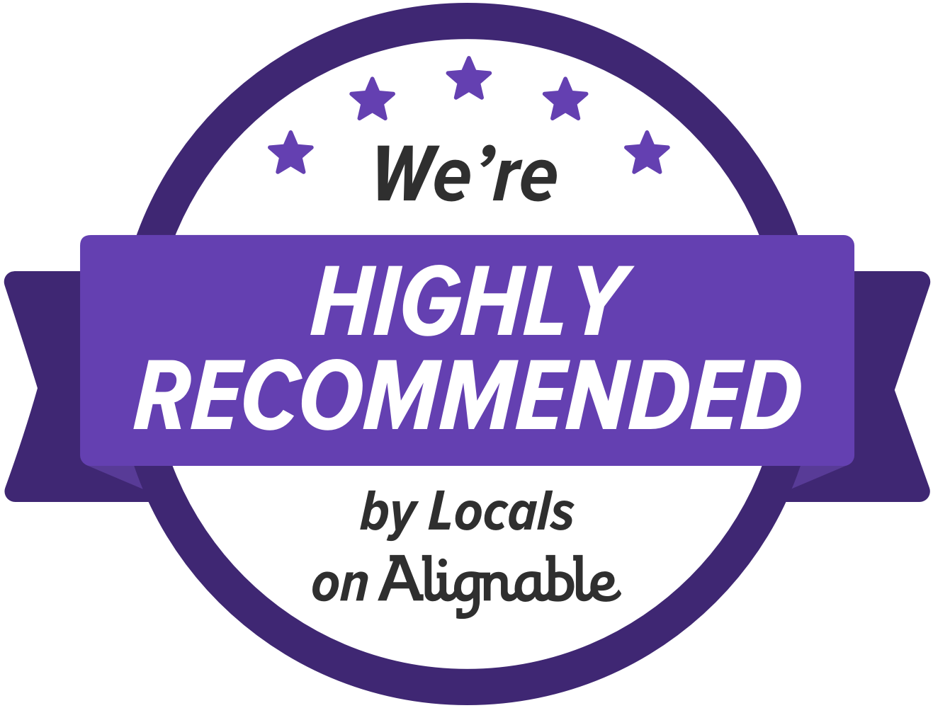 We're highly recommended by locals on alignable.