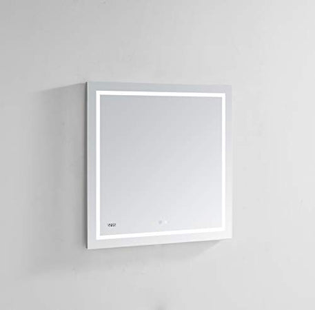 AQUADOM 36in x 30in x 1.5in Daytona Wall Mount LED Lighted Mirror for Bathroom, 3D Color Temperature Lights Cool/Warm, Clock, Defogger, Dimmer
