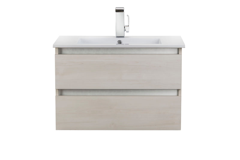"Cutler Silhouette Sleek Collection 30"" Wall Mount Bathroom Vanity - 2 Drawers With Top, Fogo Harbour"
