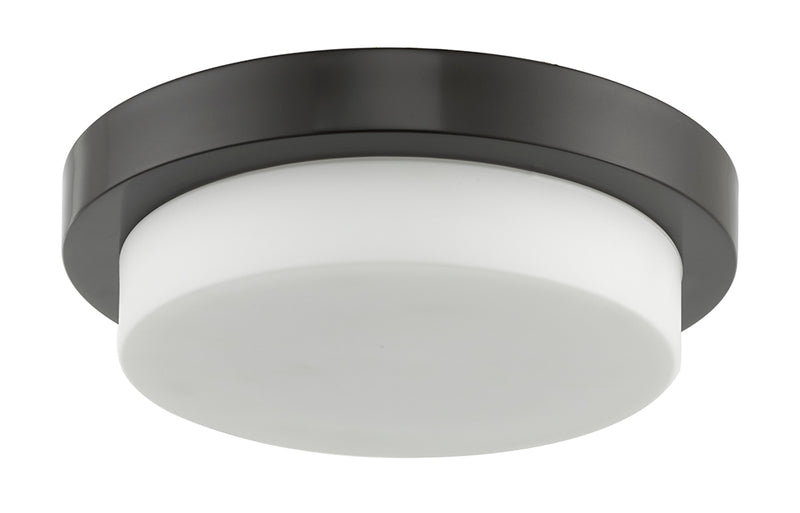 "Abra Lighting 11"" Stepped Opal Glass Flush Mount Hi-Out Dim LED 30014FM-CH"
