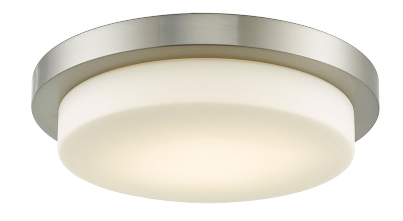 "Abra Lighting 16"" Stepped Opal Glass Flush Mount Hi-Out Dim LED 30016FM-BN"